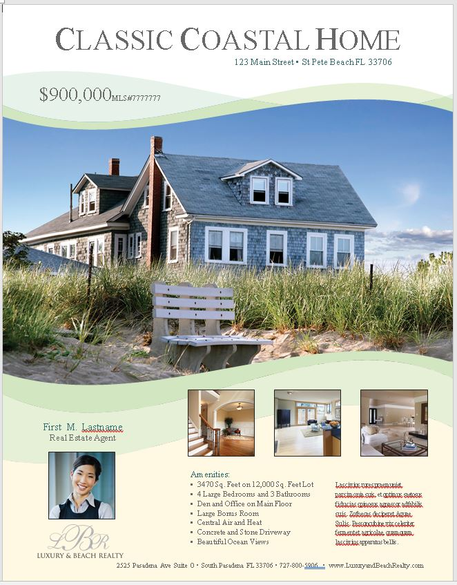 Marketing Templates Luxury And Beach Realty - Property flyer template